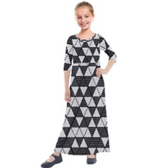 Black And White Triangles Pattern Kids  Quarter Sleeve Maxi Dress by SpinnyChairDesigns