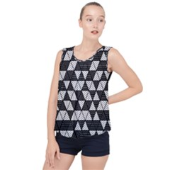 Black And White Triangles Pattern Bubble Hem Chiffon Tank Top by SpinnyChairDesigns