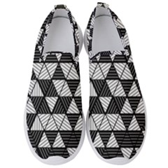 Black And White Triangles Pattern Men s Slip On Sneakers by SpinnyChairDesigns