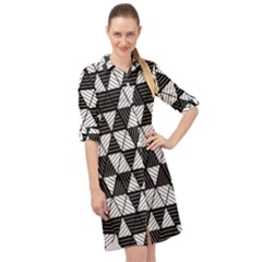 Black And White Triangles Pattern Long Sleeve Mini Shirt Dress by SpinnyChairDesigns