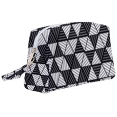 Black And White Triangles Pattern Wristlet Pouch Bag (large) by SpinnyChairDesigns