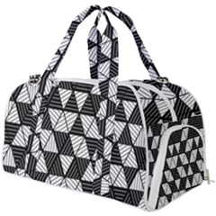 Black And White Triangles Pattern Burner Gym Duffel Bag by SpinnyChairDesigns