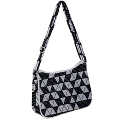 Black And White Triangles Pattern Zip Up Shoulder Bag by SpinnyChairDesigns