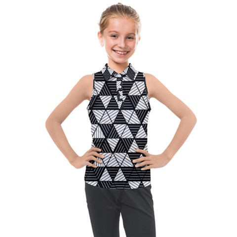 Black And White Triangles Pattern Kids  Sleeveless Polo Tee by SpinnyChairDesigns