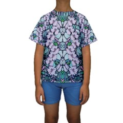 Paradise Flowers In Paradise Colors Kids  Short Sleeve Swimwear