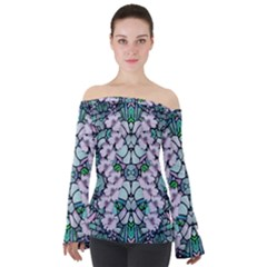 Paradise Flowers In Paradise Colors Off Shoulder Long Sleeve Top