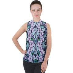 Paradise Flowers In Paradise Colors Mock Neck Chiffon Sleeveless Top