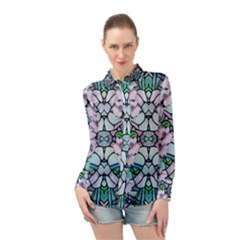 Paradise Flowers In Paradise Colors Long Sleeve Chiffon Shirt
