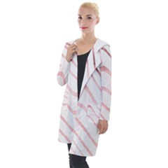 Pink Abstract Stripes On White Hooded Pocket Cardigan by SpinnyChairDesigns