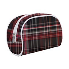 Red Black White Plaid Stripes Makeup Case (small)