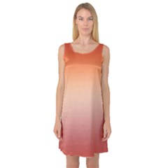 Vermilion Coral Sunset Gradient Ombre Sleeveless Satin Nightdress