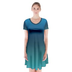 Blue Teal Green Gradient Ombre Colors Short Sleeve V-neck Flare Dress