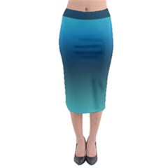 Blue Teal Green Gradient Ombre Colors Midi Pencil Skirt