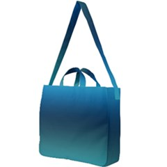 Blue Teal Green Gradient Ombre Colors Square Shoulder Tote Bag by SpinnyChairDesigns