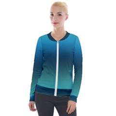 Blue Teal Green Gradient Ombre Colors Velour Zip Up Jacket
