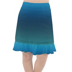 Blue Teal Green Gradient Ombre Colors Fishtail Chiffon Skirt