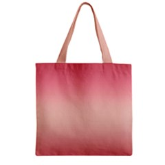 Pink Blush Gradient Ombre Colors Zipper Grocery Tote Bag by SpinnyChairDesigns