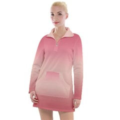 Pink Blush Gradient Ombre Colors Women s Long Sleeve Casual Dress