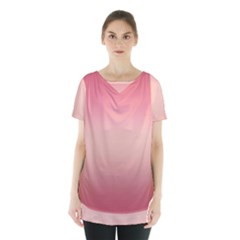 Pink Blush Gradient Ombre Colors Skirt Hem Sports Top