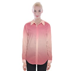 Pink Blush Gradient Ombre Colors Womens Long Sleeve Shirt