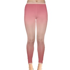 Pink Blush Gradient Ombre Colors Inside Out Leggings by SpinnyChairDesigns