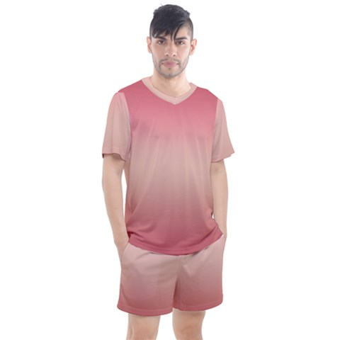 Pink Blush Gradient Ombre Colors Men s Mesh Tee And Shorts Set by SpinnyChairDesigns