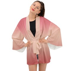 Pink Blush Gradient Ombre Colors Long Sleeve Kimono by SpinnyChairDesigns