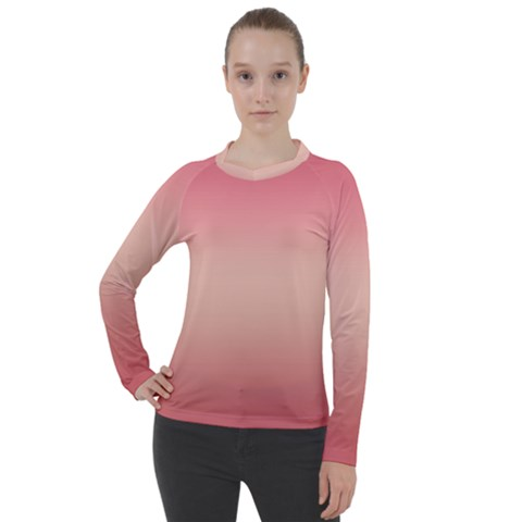 Pink Blush Gradient Ombre Colors Women s Pique Long Sleeve Tee by SpinnyChairDesigns