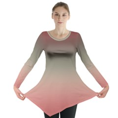 Tea Rose And Sage Gradient Ombre Colors Long Sleeve Tunic