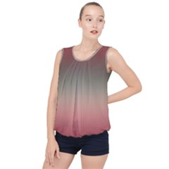 Tea Rose And Sage Gradient Ombre Colors Bubble Hem Chiffon Tank Top by SpinnyChairDesigns
