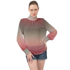 Tea Rose And Sage Gradient Ombre Colors High Neck Long Sleeve Chiffon Top