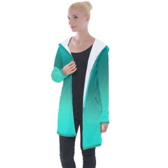 Teal Turquoise Green Gradient Ombre Longline Hooded Cardigan by SpinnyChairDesigns