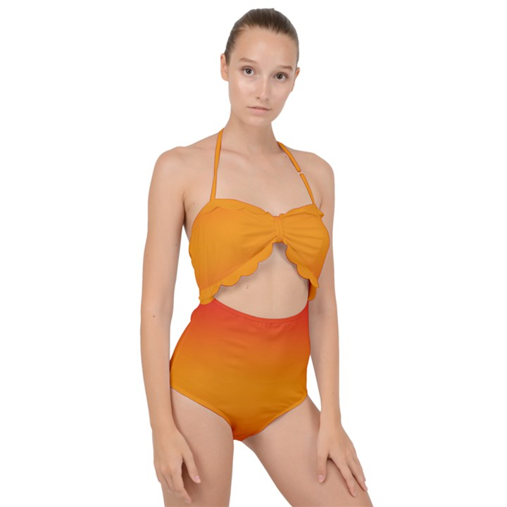 Red Orange Gradient Ombre Colored Scallop Top Cut Out Swimsuit