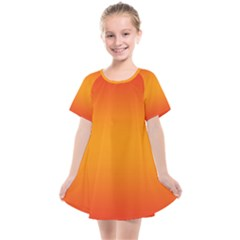 Red Orange Gradient Ombre Colored Kids  Smock Dress by SpinnyChairDesigns
