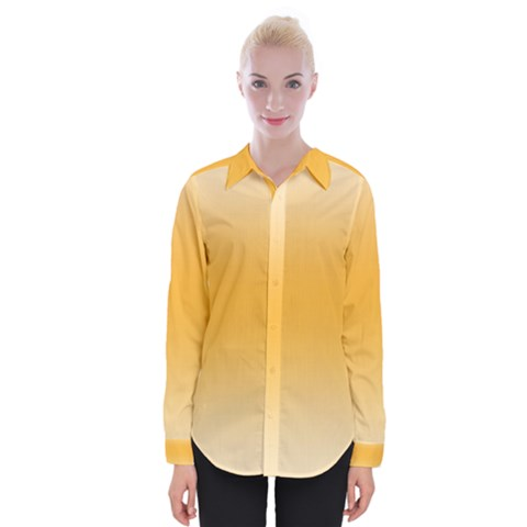 Saffron Yellow And Cream Gradient Ombre Color Womens Long Sleeve Shirt by SpinnyChairDesigns