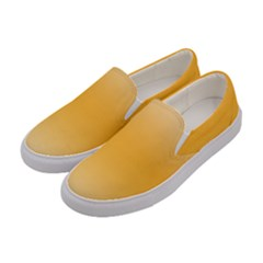 Saffron Yellow And Cream Gradient Ombre Color Women s Canvas Slip Ons by SpinnyChairDesigns