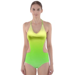 Lemon Yellow And Lime Green Gradient Ombre Color Cut-out One Piece Swimsuit