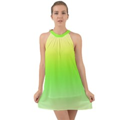 Lemon Yellow And Lime Green Gradient Ombre Color Halter Tie Back Chiffon Dress by SpinnyChairDesigns