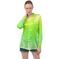 Lemon Yellow And Lime Green Gradient Ombre Color Long Sleeve Satin Shirt