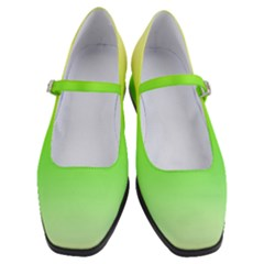 Lemon Yellow And Lime Green Gradient Ombre Color Women s Mary Jane Shoes by SpinnyChairDesigns