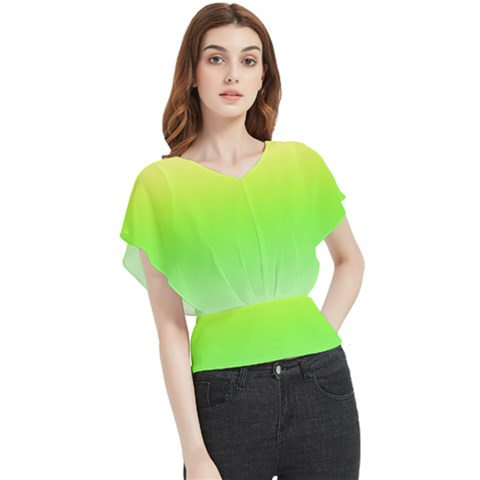 Lemon Yellow And Lime Green Gradient Ombre Color Butterfly Chiffon Blouse by SpinnyChairDesigns