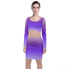 Plum And Violet Purple Gradient Ombre Color Top And Skirt Sets