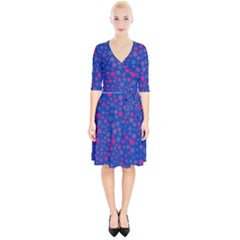 Bisexual Pride Tiny Scattered Flowers Pattern Wrap Up Cocktail Dress