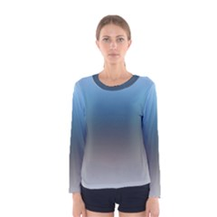 Sky Blue And Grey Color Gradient Ombre Women s Long Sleeve Tee