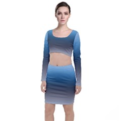 Sky Blue And Grey Color Gradient Ombre Top And Skirt Sets