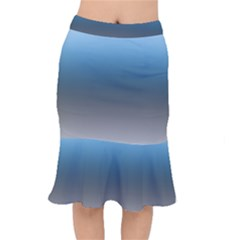 Sky Blue And Grey Color Gradient Ombre Short Mermaid Skirt