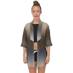 Brown And Grey Gradient Ombre Color Open Front Chiffon Kimono
