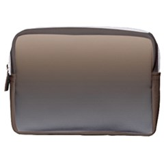 Brown And Grey Gradient Ombre Color Make Up Pouch (medium)