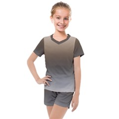 Brown And Grey Gradient Ombre Color Kids  Mesh Tee And Shorts Set