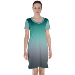 Teal Green And Grey Gradient Ombre Color Short Sleeve Nightdress